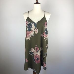 FP Intimately Green Floral Cascades Slip Dress